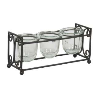 IRON 3 VOTIVE CANDLE HOLDER DISPLAY RACK STAND TABLETOP