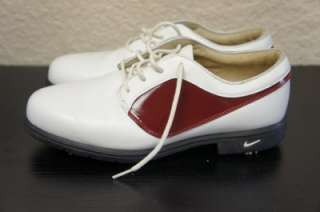 Nike Air Comfort Red & White Lace Up Womens Soft Spike Golf Shoes Sz 7