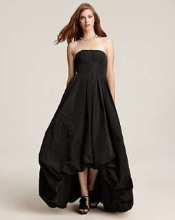 BCBG MaxAzria Hi Low Strapless Black Taffeta Long Evening Gown Dress