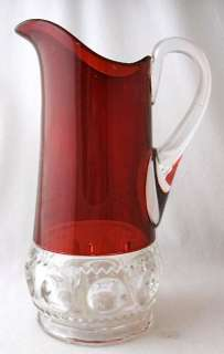 Ruby stained KINGS CROWN tankard pitcher EAPG