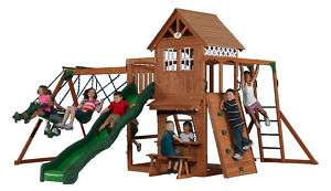 CEDAR SWINGSET + ROCKWALL, SLIDE, MONKEY BARS & GLIDER