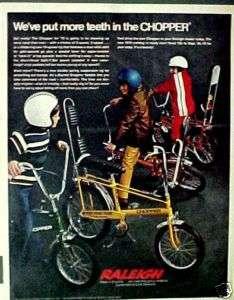 1970 Raleigh Chopper Bicycles, Boys Bike Promo Print AD