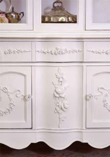 Shabby Cottage Chic White Glass China Cabinet French Style Roses