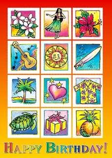 Greeting Cards HAPPY BIRTHDAY Hawaiian HULA TURTLE