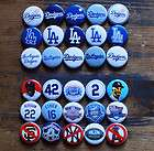 30 x 1 LA DODGERS PINBACK BUTTONS pin badges los angeles baseball mlb