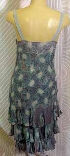 FLirty Fun blue/grey silk Ruffle tiered Dress sz6 33b