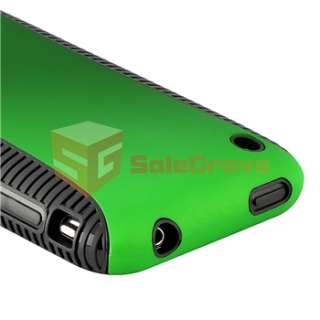 HYBRID BLACK TPU Gel CASE Green Hard COVER+Privacy Protector For