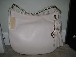 NEW MICHAEL KORS BENNET VANILLA WHITE BRAIDED Leather Tote PURSE BAG $