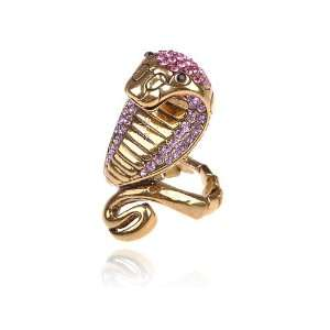 Gold Tone Striking Egyptian Curse Viper Cobra Rose Pink