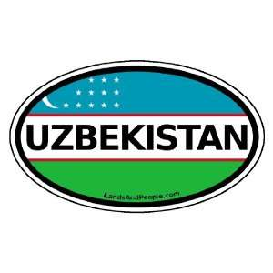 Uzbekistan Flag Car Bumper Sticker Decal Oval