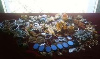 90+Huge Lot Vintage Estate JewelrySterling, Gold, Rhinestone