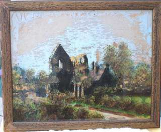 Antique VIctorian Reverse Glass Painting,signed Russell