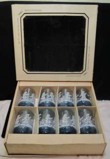 VTG 1960s LIBBEY MARY GREGORY BLUE GLASS 4 1/2 TUMBLERS~ORIGINAL BOX