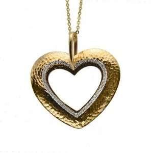 14KT Yellow And White Gold Diamond Open Heart Pendant. Jewelry