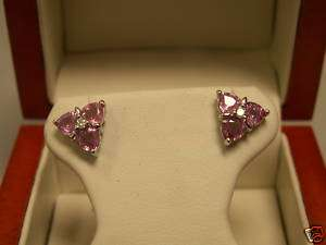 Pink Sapphire & Diamond Earrings with Appraisal