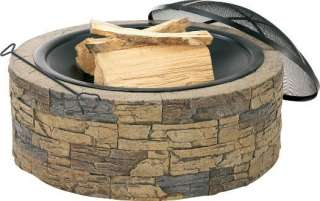 Cast Stone Outdoor 35 Fire Pit Charcoal Grill w/ Screen Protector