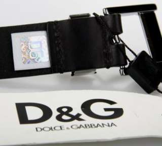 & GABBANA D&G MENS BLACK LEATHER LOGO PIN BUCKLE BELT 105/42