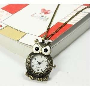 Style Personality Big Eyes Owl Pocket Watch Necklace Bronze Quartz