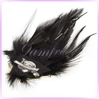 Masquerade Mask Charm Feather Hair Clip Hat Brooch Pin