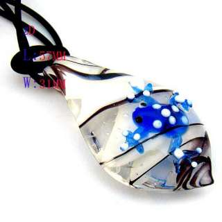 g326 Cute Frog Leaf Murano Lampwork Glass Pendant Chain Necklace