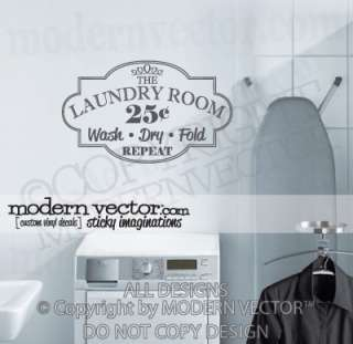 LAUNDRY ROOM Vinyl Wall Quote Decal WASH DRY FOLD