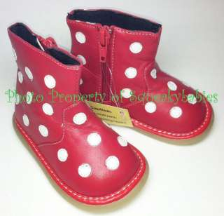 Leather Boots White Polka Dots Scratch & Dent Sale Great Deal