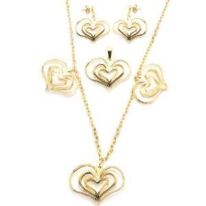 High Polished Gold Plated Stainless Steel Heart Set For
