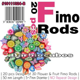 20 Nail Art Fimo Rods Flower Fruit Canes DIY Nail Tips Decals   Mixed
