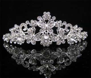 Wedding/Bridal crystal veil tiara crown headband CR195