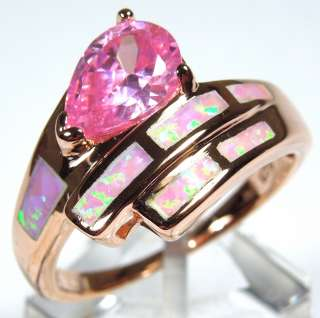 Rose Gold plated 925 Sterling Silver Pink Fire Opal Inlay and Pink