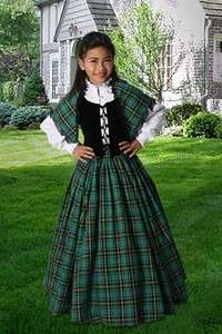 Scottish Tartan Three Piece Traditional Dress for Girls Handmade Plaid