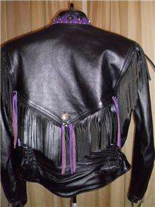 Davidson Leather Jacket Vtg Custom Purple Fringe Med USA Made