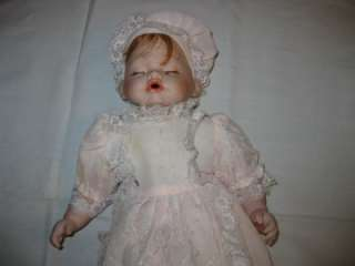 Porcelain Ashley Belle Sleeping Baby Doll with Christening Dress