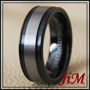 Black Mens Wedding Band Tungsten Carbide Ring Size 6 15
