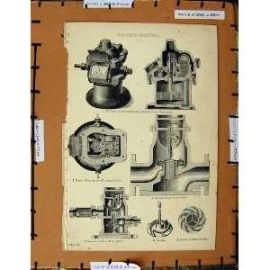 Antique Print C1800 1870 Water Meter Siemens Turbine
