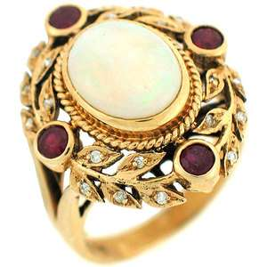 Opal Solitaire With Ruby & Diamonds Ladies Antique Cocktail Ring 14k
