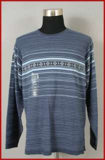 NEW IZOD MENS CREW NECK BLUE STRIPE SWEATER L NWT