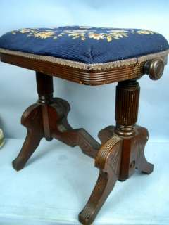 Antique Piano/Organ Stool With Needlepoint Top