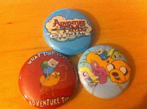 ADVENTURE TIME set of 3 1 pins pinback buttons Finn and Jake #2