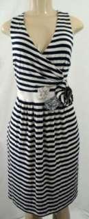 Little Yellow Button Navy Ivory Stripe Stretch Jersey Dress