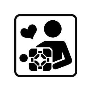 Portal Companion Cube Die Cut Vinyl Decal Sticker   5.5