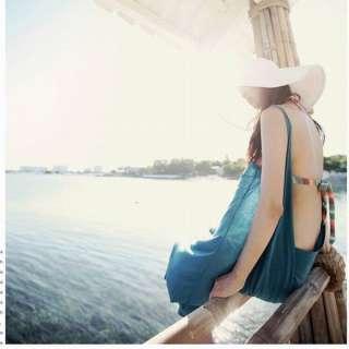 Womens Wide Brim Summer Beach Sun Hat Straw Fashion adumbral Hat 8