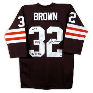 Cleveland Browns Jim Brown Autographed Stats Jersey