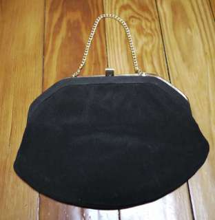 Vtg 60s Black Fabric Brass Lined Clutch Purse Bag