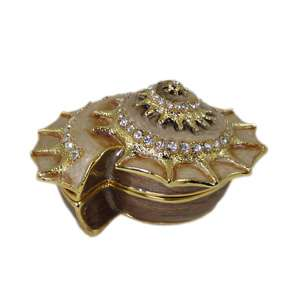 Trinket Box Seashell Shell w/Swarovski Crystals Gold