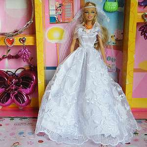 New Princess Wedding Clothes Party Dress Gown for Barbie doll 014YO