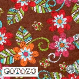 12 6.5 FLANNEL RAG QUILT SQUARE HOT PINK BROWN PAISLEY