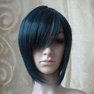 Fashion Lady Short Blue black Straight Hair Cosplay Party Wig 35cm
