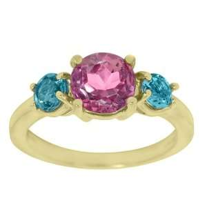 2.35 Ct 3 Stone Pink & Blue Topaz 14K Yellow Gold Ring
