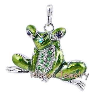 6pcs Frog Enamel&White Gold Plated 37*50MM Pendants